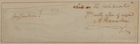 "Alexander Hamilton Clipped Signature. Removed from a larger document, the 6.75"" x 2"" piece has been inset into..."