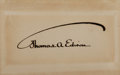 "Autographs:Inventors, Thomas A. Edison Card Signed. Placed on a 4.25"" x 2.75"" card. ..."