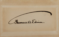 "Thomas A. Edison Card Signed. Placed on a 4.25"" x 2.75"" card"