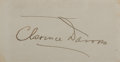 "Autographs:Celebrities, Clarence Darrow Card Signed. Darrow (1857-1938), an American lawyerbest remember for representing the defense in the ""Scope..."
