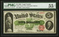 Fr. 61a $5 1862 Legal Tender PMG About Uncirculated 55 Net