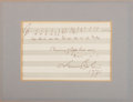 "Autographs:Artists, Leonard Bernstein Musical Quote Signed. One page, 7"" x 4.5""(sight), 1971. The composer has penned two bars from his ""Mass.""..."