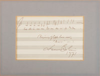 "Leonard Bernstein Musical Quote Signed. One page, 7"" x 4.5"" (sight), 1971. The composer has penned two bars fr..."