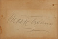 "Autographs:Authors, Mark Twain Signature. Placed on a card measuring 3.25"" x 2.25""...."