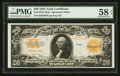 Large Size:Gold Certificates, Fr. 1187 $20 1922 Mule Gold Certificate PMG Choice AboutUncirculated 58 EPQ.. ...