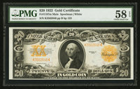 Fr. 1187 $20 1922 Mule Gold Certificate PMG Choice About Uncirculated 58 EPQ