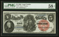 Large Size:Legal Tender Notes, Fr. 73 $5 1880 Legal Tender PMG Choice About Uncirculated 58 EPQ.. ...