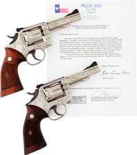 Pair of Cole Agee Engraved Smith & Wesson Combat Masterpiece Revolvers Belonging to Texas Rangers George Brakefield...