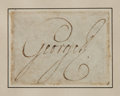 "Autographs:Non-American, King George III, of England, Clipped Signature. The Britishmonarch's bold signature is found on a 2.5"" x 1.75"" piece of vel..."