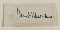 """Benito Mussolini Signature. Mounted to a backing board to an overall size of 4"""" x 2"""". Mussolini (1883-1945), k..."""