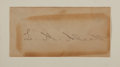 """Autographs:Authors, Louisa May Alcott Signature. The American novelist has written """"L. M. Alcott"""" upon a 4.25"""" x 2.25"""" piece of paper which ..."""