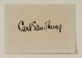 "Autographs:Authors, Carl Sandburg Signature. Author and poet Carl Sandburg (1878-1967)has placed his signature upon a 3"" x 2.25"" card which is ..."