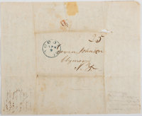 """[Slavery]. B. Johnson Autograph Letter Signed. Three pages with integral address leaf, 8"""" 9.75"""", Woodville [Mi..."""