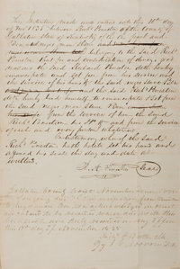 """[Slavery]. Slave Manumission. One handwritten page with integral blank, 8"""" x 12"""", Gallatin County [Kentucky]..."""