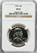 Proof Franklin Half Dollars: , 1959 50C PR67 NGC. NGC Census: (4341/1360). PCGS Population(1106/302). Mintage: 1,149,291. Numismedia Wsl. Price for probl...