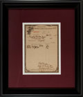 """Miscellaneous:Ephemera, Order Form for Opium. One partially-printed page, 6"""" x 8.5""""(sight), Richmond [Virginia], October 27, 1915. Written on""""Un..."""