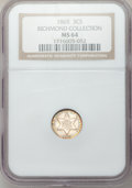 Three Cent Silver, 1865 3CS MS64 NGC....