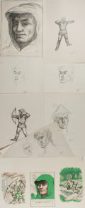 Books:Children's Books, Garth Williams (1912-1996), illustrator. Lot of Eight Preliminary Sketches and One Proof Illustration for Henry Gilbert's Chil...