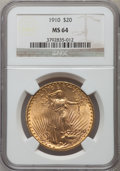 Saint-Gaudens Double Eagles: , 1910 $20 MS64 NGC. NGC Census: (863/74). PCGS Population(1144/171). Mintage: 482,000. Numismedia Wsl. Price for problemfr...