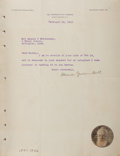 "Autographs:Inventors, Alexander Graham Bell Typed Letter Signed. One page, 8.5"" x 11"", onhis personal letterhead, Washington, February 18, 1915, ..."