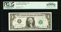 Error Notes:Mismatched Serial Numbers, Fr. 1907-B $1 1969D Federal Reserve Note. PCGS Gem New 65PPQ.. ...