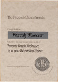 Movie/TV Memorabilia:Awards, A Farrah Fawcett 'People's Choice' Certificate, 1977....
