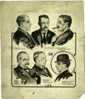Illustration:Magazine, GILLET. Cornwall Hearing Drawings, c.1916. For the NewburghNews. Ink on paper. 11 x 10.25in. (sight seen). Signed and d...