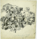Illustration:Magazine, LOUIS HANLON (American 1882-1950) . Original Newspaper Story Illustration. Ink on paper. 16 x 17in.. Unsigned. ...