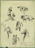 Illustration:Books, ALLEN M. DEAN (American 20th Century). Original Illustration. Kingof the Arickaree Horse and Wolf Studies. Ink on paper, mo...