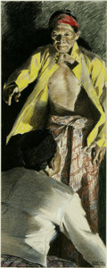 Illustration:Magazine, MARTHA SAWYERS (American 1902-1988) . Nepalese Man, c.1944.Original Magazine Story Illustration. Pastel on paper . 30 x 12i...