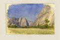 American:Hudson River School, JOHN HENRY HILL (American 1839-1922). Meadow, Yosemite.Watercolor on paper. 2.8 x 4.5in.. Inscribed verso: July 21