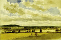 Fine Art:Paintings, JOHN HENRY HILL (American 1839-1922) Landscape with CloudsWatercolor on paper 5.5in x 8.25in Condition report: Paper ...