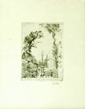 Prints:European Modern, FRENCH SCHOOL. Indecipherable signature, 1918. Etching. 4 x 5.5in..Numbered '340' in top left corner. French inscription in...