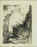 Prints:European Modern, C. AVARD. Village Street Scene. Etching. 7.5 x 8.5in.. Signed lowerright. ...