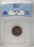 Proof Indian Cents: , 1869 1C PR64 Red and Brown ANACS. Deep reddish-brown and cobalt-blue toning adorns both sides. Sharply struck, as expected ...