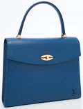 Luxury Accessories:Bags, Louis Vuitton Blue Epi Leather Malsherbes Top Handle Bag. ...