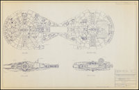 "The Millennium Falcon from Star Wars (Laemmle Industrial Designs, 1982). Printed Blueprint (22"" X 34.5""). Scie..."