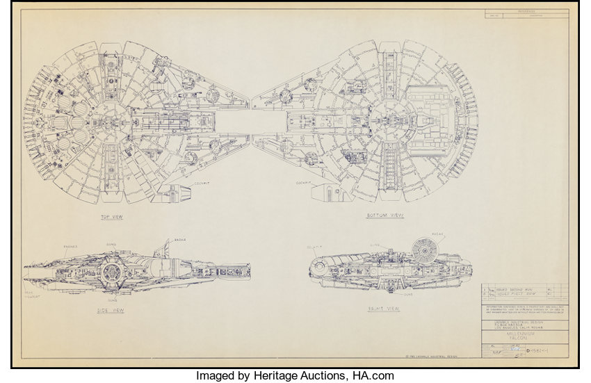 The millennium falcon from star wars laemmle industrial lot movie postersscience fiction the millennium falcon from star wars laemmle industrial designs malvernweather Gallery