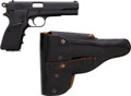Handguns:Semiautomatic Pistol, Argentine FM Hi-Power Semi-Automatic Pistol with Leather Holster....