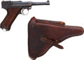 Handguns:Semiautomatic Pistol, German DWM P08 Double Date 1918 1920 Luger Semi-Automatic Pistol with Leather Holster....