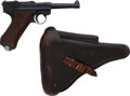 Handguns:Semiautomatic Pistol, German Erfurt P08 1938 Luger Semi-Automatic Pistol with Leather Holster....