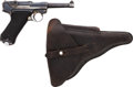 Handguns:Semiautomatic Pistol, German S/42 Code P08 1936 Luger Semi-Automatic Pistol with LeatherHolster....