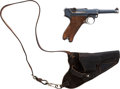 Handguns:Semiautomatic Pistol, German Erfurt Model P08 1912 Luger Automatic Pistol withCertificate and Leather Holster....