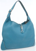 Luxury Accessories:Bags, Hermes 38cm Blue Jean Clemence Leather Trim I Bag with PalladiumHardware. ...