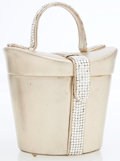 Luxury Accessories:Bags, Judith Leiber Half Bead Silver Crystal & Metallic Gold LeatherHatbox Evening Bag . ...