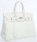 Luxury Accessories:Bags, Hermes 35cm White Evergrain Leather Birkin Bag with PalladiumHardware. ...