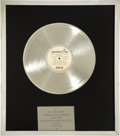 Music Memorabilia:Awards, Elvis Presley Aloha from Hawaii via Satellite PlatinumRecord Award to Colonel Tom Parker (RCA 6089, 1973)....