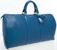 Louis Vuitton Blue Epi Leather Keepall 50 Weekender Overnight Bag