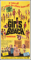 "Movie Posters:Rock and Roll, The Girls on the Beach (Paramount, 1965). Three Sheet (41"" X 81"").Rock and Roll.. ..."