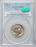 Buffalo Nickels, 1913 5C Type One MS66 PCGS. CAC. PCGS Population (1779/457). NGCCensus: (1228/277). Mintage: 30,993,520. Numismedia Wsl. P...